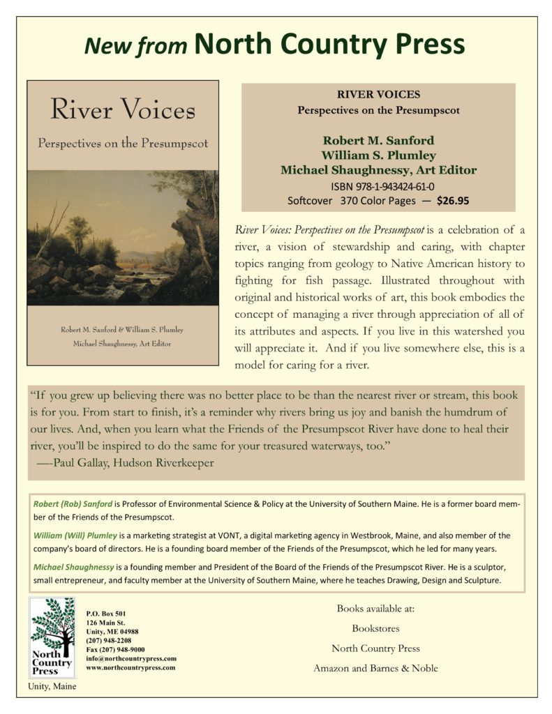 A flier that includes information on the publication of the book River Voices published by North Country Press.